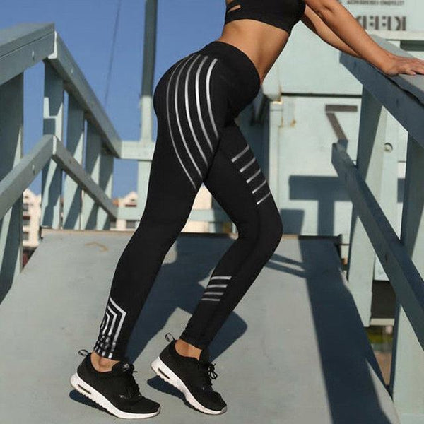 Stripe detail running lounge workout fitness leggings (1462465822763)