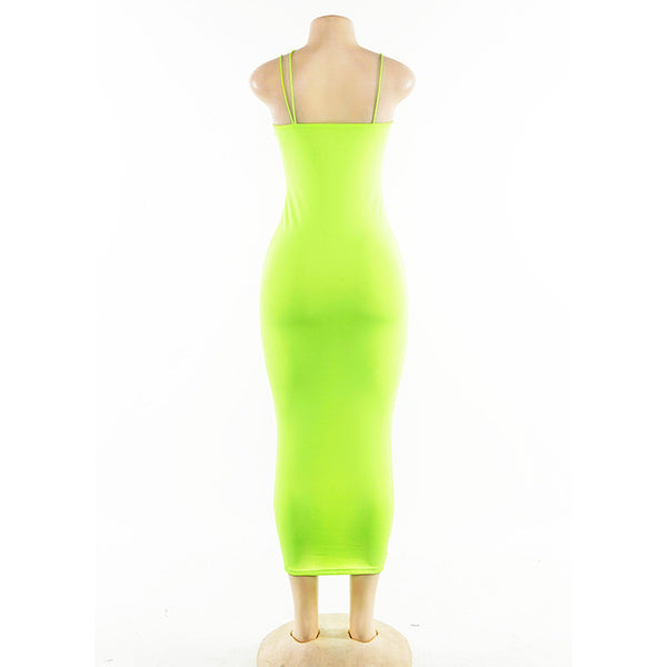 Neon deep v strap bodycon midi maxi dress (2180139941931)