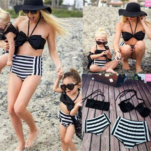 Vintage bow style Mommy and me baby matching 2 piece swimwear (1462482173995)