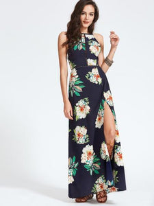 Ladies Floral side split maxi dress