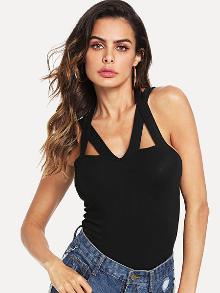 Black Strappy detail top (1462459596843)