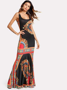 Queen African print long maxi fashion dress