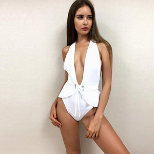 Deep plunge peplum monokini one piece swimsuit (1462474113067)