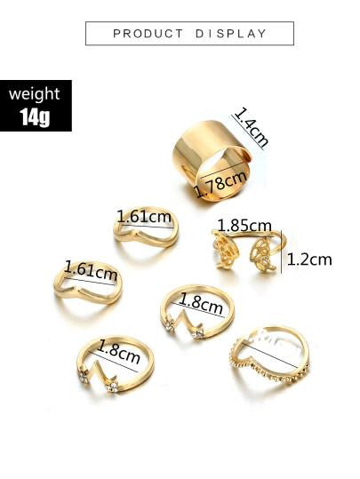 Gold tone 7pcs set irregular rings (1462455926827)
