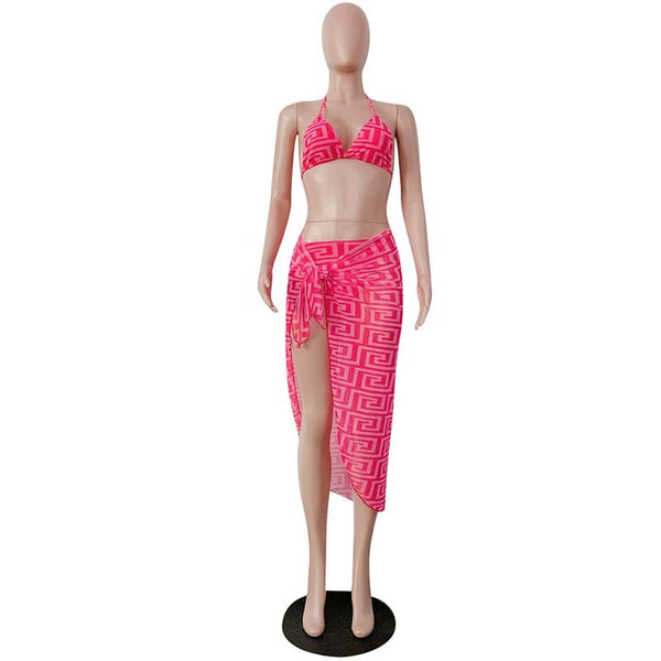 """Blast from the past"" neon 3 pieces bikini swimsuit cover up set (1782058942507)"