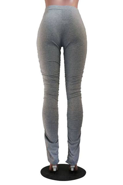Ladies Stacked ruched fashion sweatpants