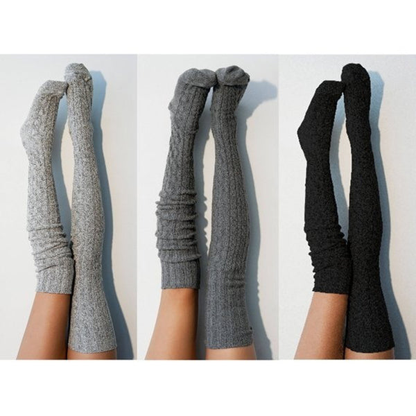 Trendy knitted Warm over the knee boot socks (4357167218771)