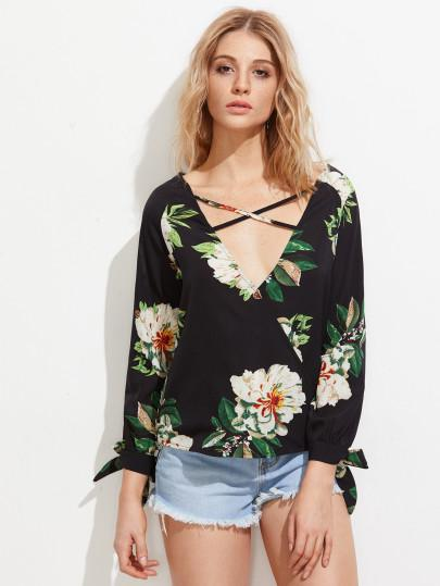 Floral cross front fashion blouse (1462513205291)