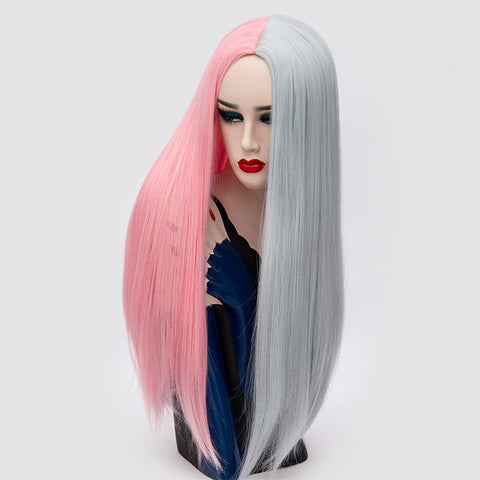 Barbie pink 28inch  heat resistant 2 color ombré middle part cosplay straight hair wig (4111318581291)