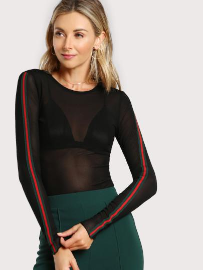 """Ave"" side split sheer long sleeve top (1462520479787)"