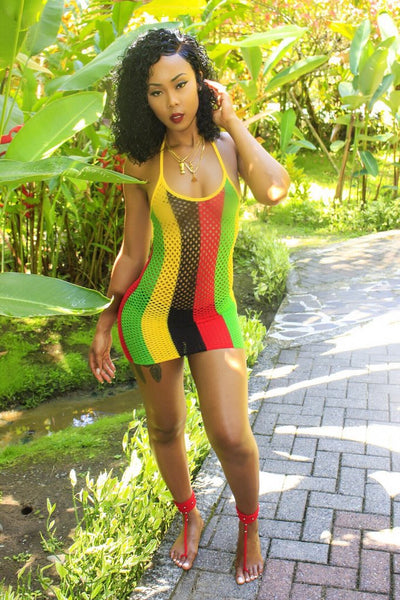 """Reggae vibes"" Rasta color sheer fishnet bikini coverup dress (1782065823787)"