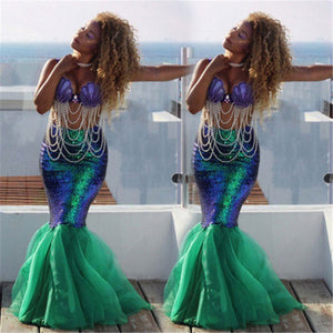 Fancy glitter tutu long mermaid skirt cosplay Halloween costume party outfit (2180163862571)
