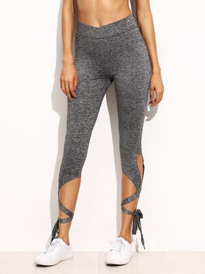 Grey lace up tie style fashion leggings (1462516482091)