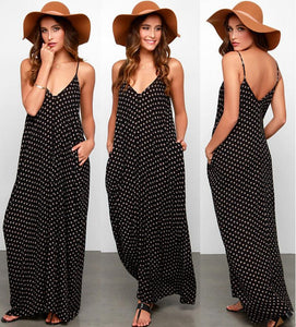 Trendy boho polka dot loose fit maxi long dress