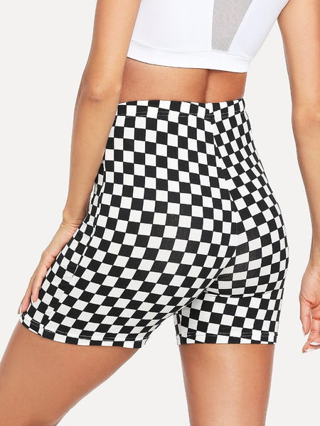 Checkered racing biker shorts leggings (1462459367467)