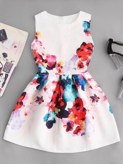 Floral mini skater evening dress (1462480338987)