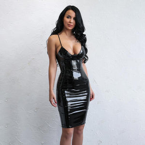 """Finishline"" black wet leather style bodycon dress (1462514155563)"