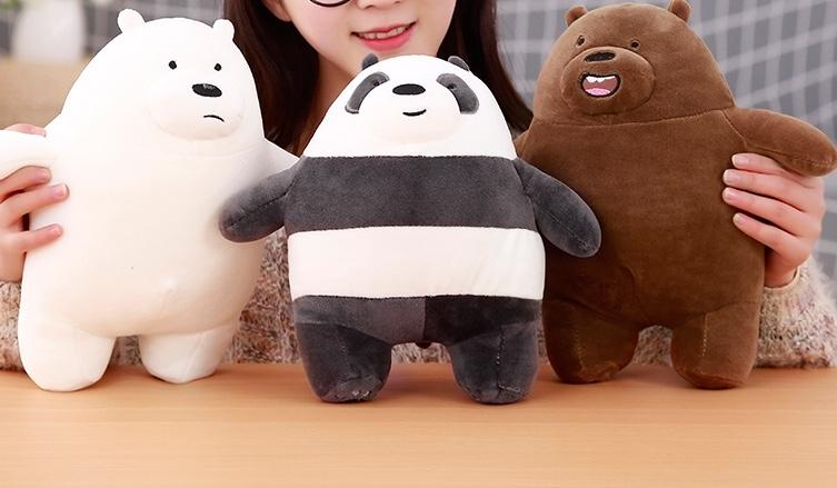 We bare bears Grizzly Panda Ice Bear Stuffed Soft Plush toy