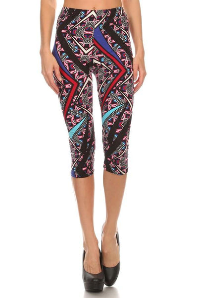 Women geometric capri leggings - Iconic Trendz Boutique (1462582476843)