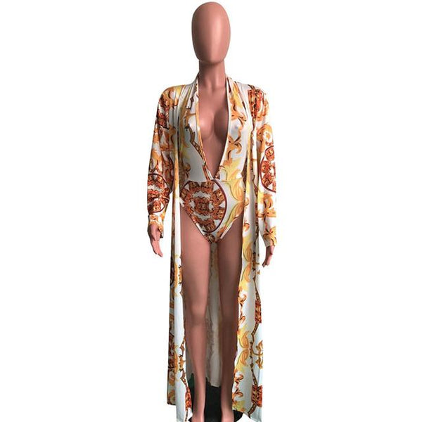 2 piece luxury monokini coverup swimsuit set