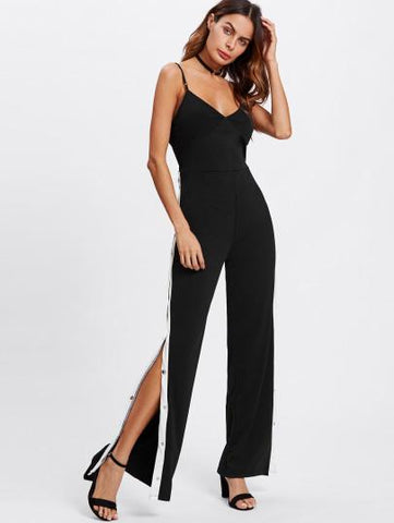 Trendy side split snap track fashion jumpsuit
