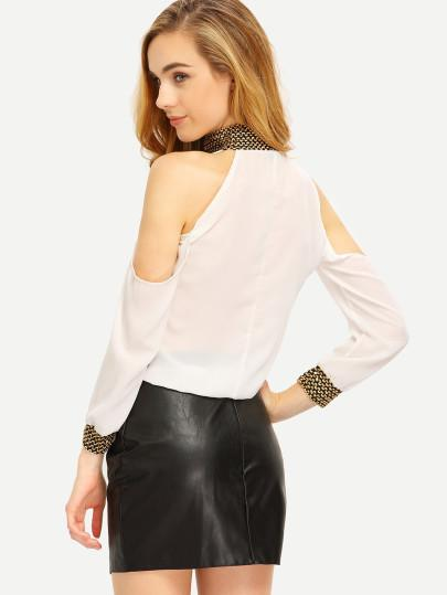 """All in"" cold shoulder sequins detail chiffon top (1462520348715)"
