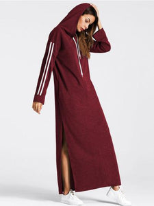 Stripe sleeve long maxi sweater hoodie dress (1462480470059)