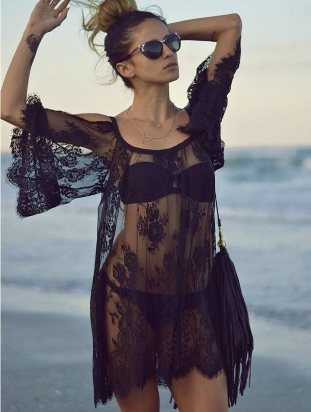 Boho sheer floral swimsuit bikini coverup dress