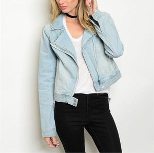 "Denim ""couture"" studded jacket - Iconic Trendz Boutique"