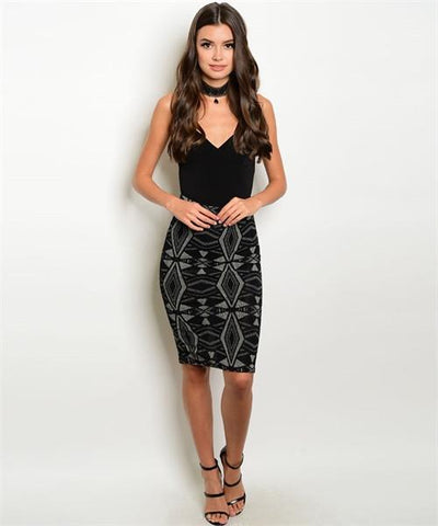 Tribal essence shimmer bodycon skirt - Iconic Trendz Boutique