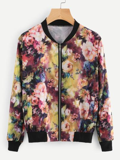 Tropical Floral bomber fashion jacket (1462523985963)