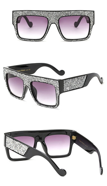 Iconic eyewear- crystal glitter oversize retro sunglasses (1462527459371)