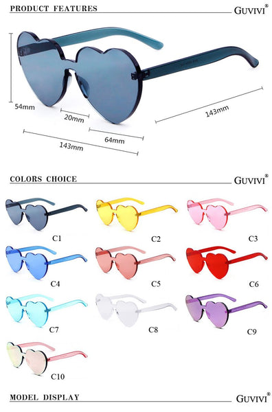Heart clear frameless retro color sunglasses (1462485155883)