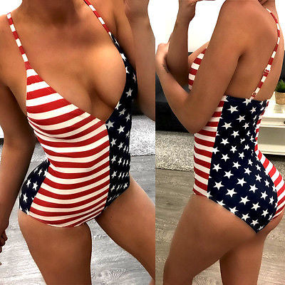 Usa flag one piece monokini swimsuit bikini (1757006987307)