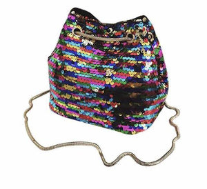 Sequins detail bucket chain handbag