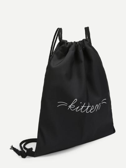 Kitten letter drawstring backpack (1462455730219)