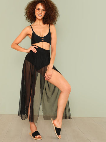 """Fiesta"" Sheer split swimsuit bikini coverup skirt (1462460416043)"
