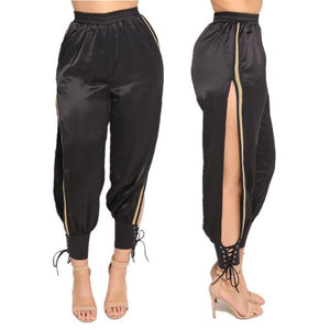 Side split lace up joggers pants (1462457008171)