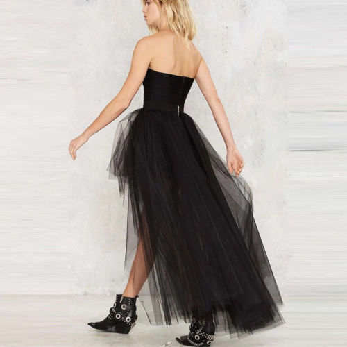 Classic high low mermaid trail tutu tulle skirt (4111432581163)