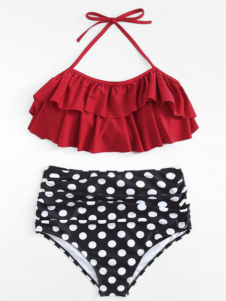 Retro ruffle polka dot high waist 2 piece swimsuit