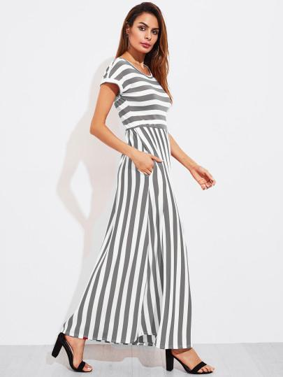 Women Stripe long maxi dress (1462467985451)