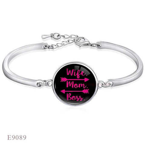 Wife Mom Boss Charm Adjustable Bracelet Gift for her (1462478438443)