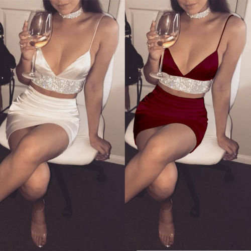 Glitter satin 2 piece bra crop top skirt set (1778933891115)