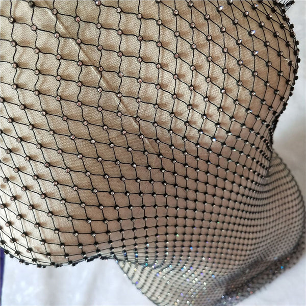 Dazzling rhinestone diamond fishnet sheer dress (1782070837291)