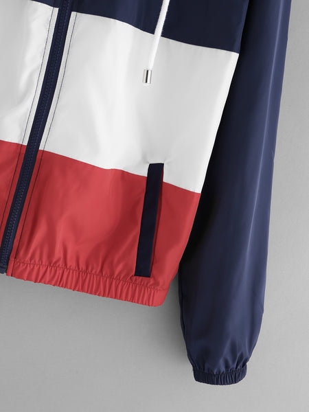 Trendy color block Retro windbreaker sweater (1462513467435)