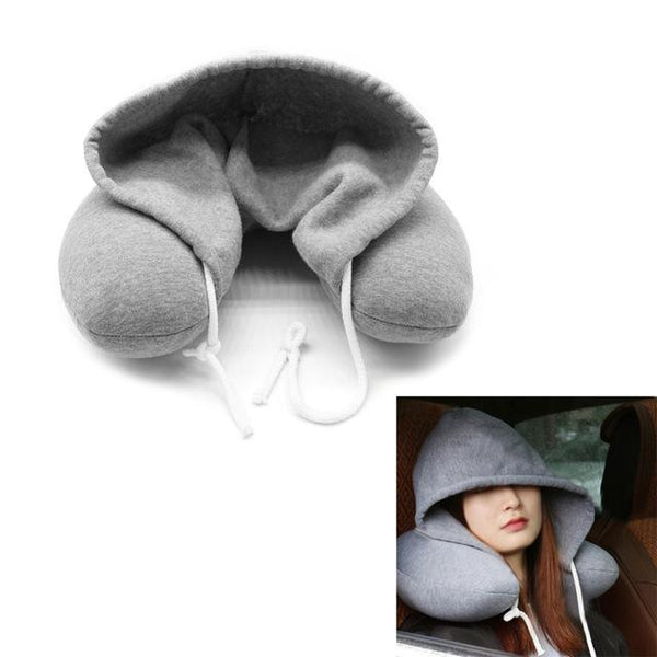 Cool Hooded Neck Pillow Cotton Travel Comfy Sleep hoodie Pillow (1462461202475)