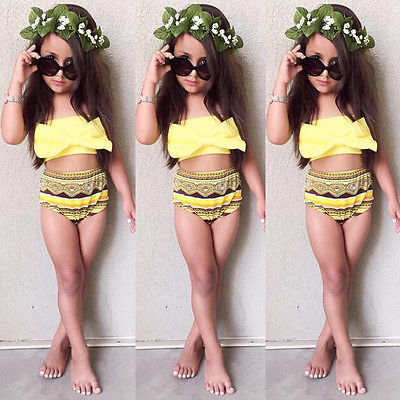 Kids bow tribal style 2 piece girls swimsuit (1689740705835)