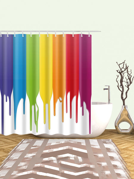 Dripping color paint shower curtain with 12 hooks (1462453731371)