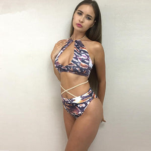 """Jungle"" cross strappy 2 piece swimsuit set (1462473359403)"