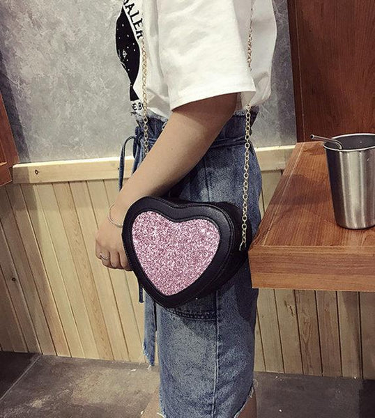 Glitter heart detail chain bag (1462490038315)